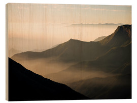 Wood print  Morning light from Top Station, Kerala - Ben Pipe