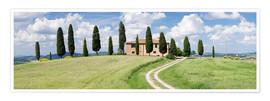 Premium poster Farm house with cypress trees near Pienza