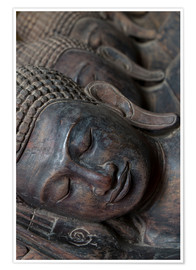 Premium poster Carved buddha heads