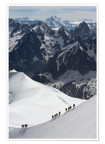 Poster Climber and climber in snowy mountains