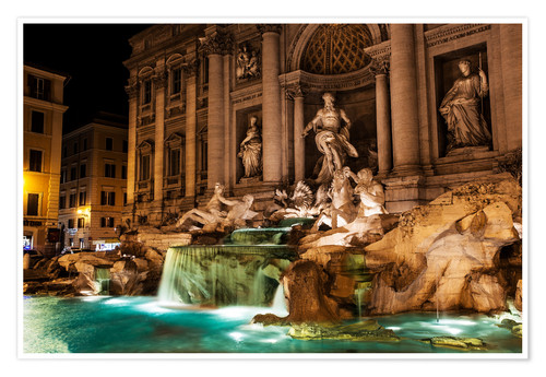 Poster Trevi Fountain in the night
