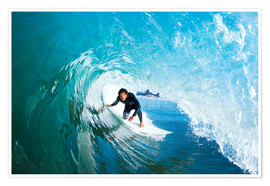 Premium poster Surfer on a blue wave