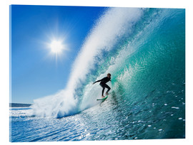 Acrylic print  Surfer on blue wave