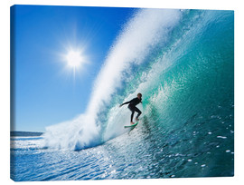 Canvas  Surfer on blue wave