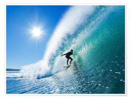 Poster  Surfer on blue wave