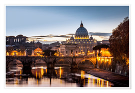 Premium poster St. Peter's Basilica at sunset