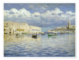 Premium poster  In the port of Malta - Peder Mørk Mønsted