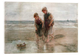 Acrylic glass  Children playing with a model boat - Jozef Israels