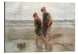 Aluminium print  Children playing with a model boat - Jozef Israels