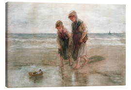 Canvas  Children playing with a model boat - Jozef Israels