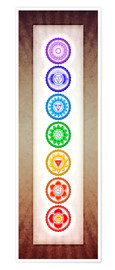 Poster  The Seven Chakras Series 6 - Color Variation Warm Brown - Dirk Czarnota