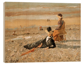 Wood print  A beautiful day in Le Tréport - Alfred Stevens