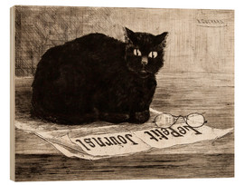 Wood print  chat noir sur un journal - Henri-Charles Guerard