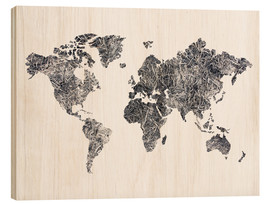 Wood  World Map - Dried