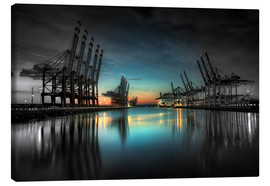 Canvas  Hamburg - harbor cranes - Sabine Wagner