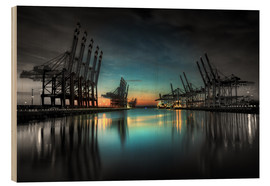 Wood  Hamburg - harbor cranes - Sabine Wagner