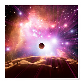 Premium poster Alien planet and star cluster