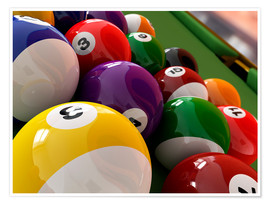 Poster  Pool balls, artwork