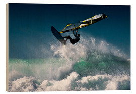 Wood print  Windsurfer in the air - Ben Welsh
