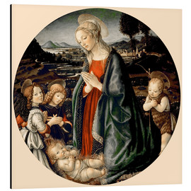Alu-Dibond  The Virgin Adoring the Christ Child with St. John the Baptist and Two Angels - Sandro Botticelli