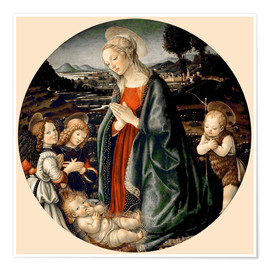 Premium poster The Virgin Adoring the Christ Child with St. John the Baptist and Two Angels