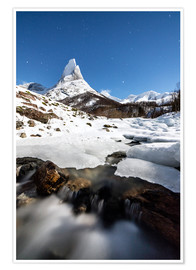 Premium poster Stetind mountain under starry sky, Tysfjord