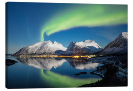 Canvas print  Northern lights and stars light up snowy peaks - Roberto Moiola