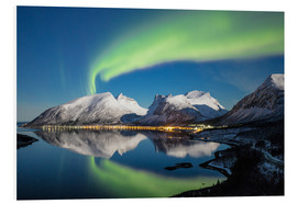 Foam board print  Northern lights and stars light up snowy peaks - Roberto Moiola