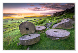 Premium poster  Stanage Edge Millstones at sunrise - Andrew Sproule