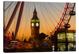 Canvas print  London Eye (Millennium Wheel) frames Big Ben at sunset - Charles Bowman