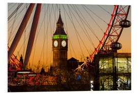 Foam board print  London Eye (Millennium Wheel) frames Big Ben at sunset - Charles Bowman