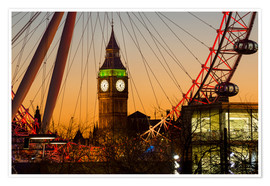 Premium poster London Eye (Millennium Wheel) frames Big Ben at sunset