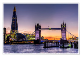 Premium poster  The Shard with Tower Bridge and Thames - Charles Bowman