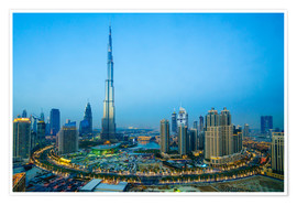 Poster  Burj Khalifa and Downtown Dubai at dusk - Fraser Hall