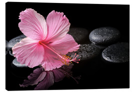Canvas print  Hot Stone Massage with hibiscus