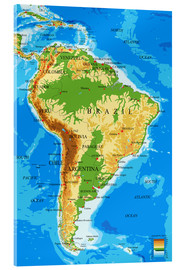 Acrylic glass  South America - Topographic Map