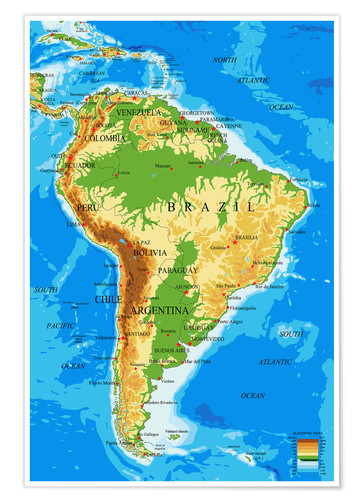 South America Topographic Map Poster Posterlounge