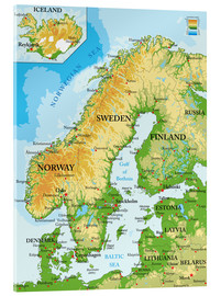 Acrylic glass  Scandinavia - Topographic Map