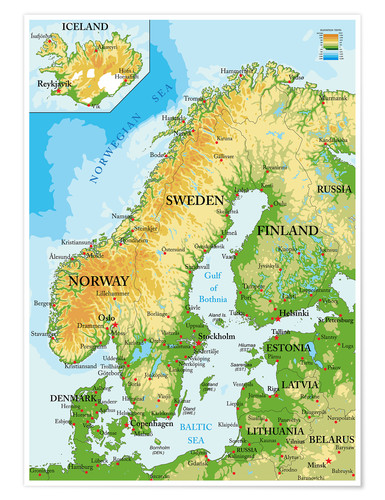 Topographic Map Of Iceland.Scandinavia Topographic Map Poster Posterlounge