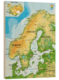 Wood print  Scandinavia - Topographic Map