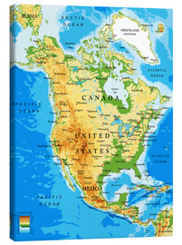 Canvas  North America - Topographic map