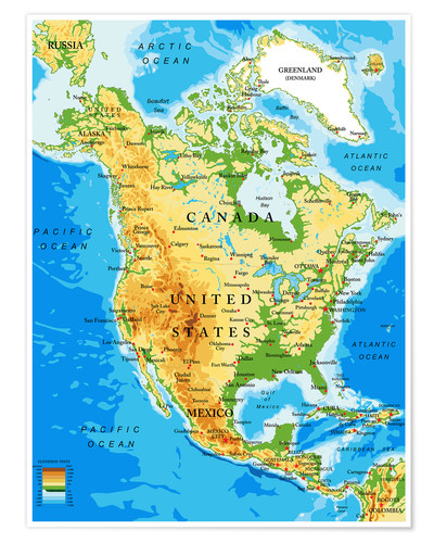 North America Topographic Map Poster Posterlounge