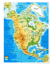 North America - Topographic map