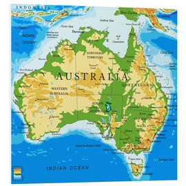 Foam board print  Australia - Topographic Map