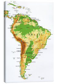Canvas print  South America - Topographic Map