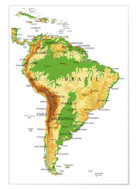 Premium poster  South America - Topographic Map