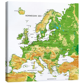 Canvas  Europe - Topographic Map