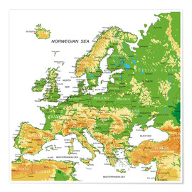 Premium poster  Europe - Topographic Map