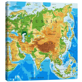 Canvas print  Asien - Topographic Map