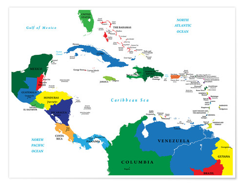 Latin America - Political Map Posters and Prints | Posterlounge.co.uk